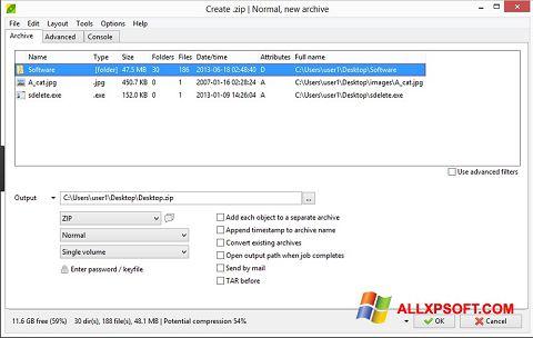 Captură de ecran PeaZip pentru Windows XP