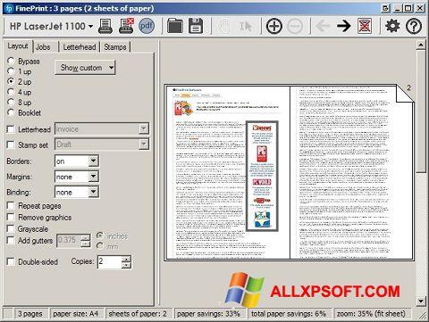 Captură de ecran FinePrint pentru Windows XP