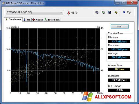 Captură de ecran HD Tune pentru Windows XP