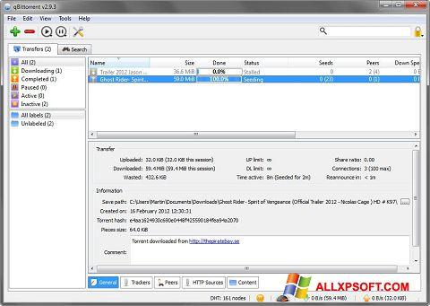 Captură de ecran qBittorrent pentru Windows XP