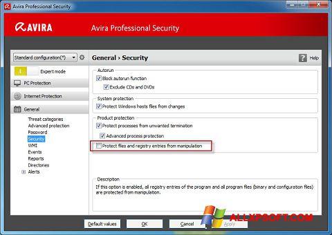 Captură de ecran Avira Professional Security pentru Windows XP