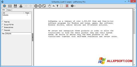 Captură de ecran pdfFactory Pro pentru Windows XP