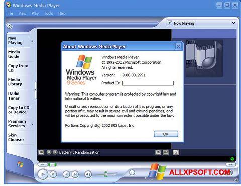 Captură de ecran Windows Media Player pentru Windows XP