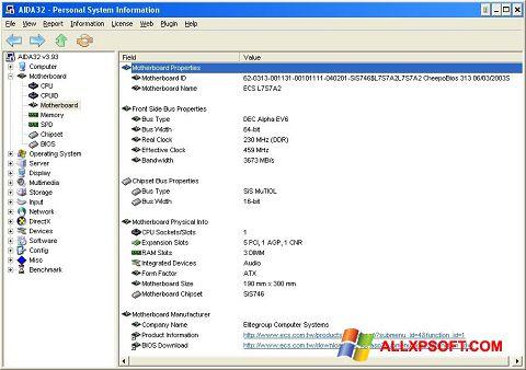 Captură de ecran AIDA32 pentru Windows XP