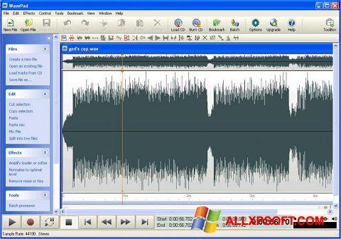 Captură de ecran WavePad Sound Editor pentru Windows XP