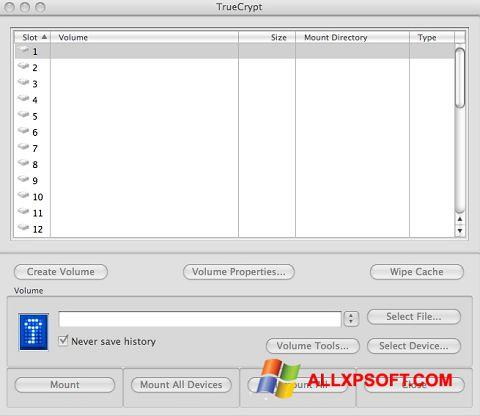 Captură de ecran TrueCrypt pentru Windows XP