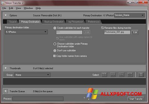 Captură de ecran Nikon Transfer pentru Windows XP
