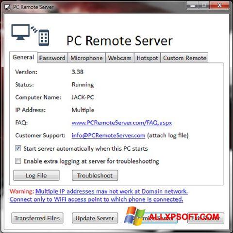 Captură de ecran PC Remote Server pentru Windows XP