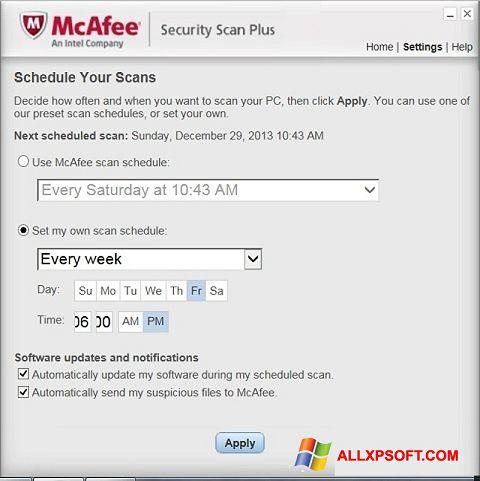 Captură de ecran McAfee Security Scan Plus pentru Windows XP