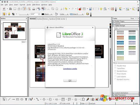 Captură de ecran LibreOffice pentru Windows XP