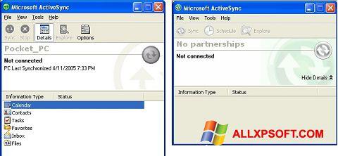 Captură de ecran Microsoft ActiveSync pentru Windows XP