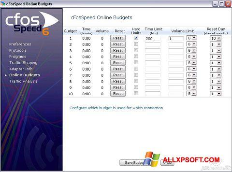 Captură de ecran cFosSpeed pentru Windows XP