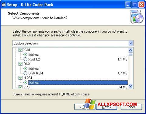Captură de ecran K-Lite Codec Pack pentru Windows XP