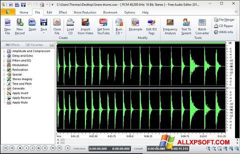 Captură de ecran Free Audio Editor pentru Windows XP