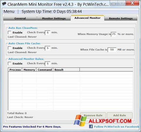 Captură de ecran CleanMem pentru Windows XP