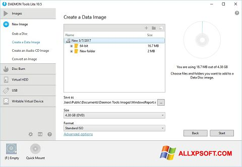 Captură de ecran DAEMON Tools Lite pentru Windows XP