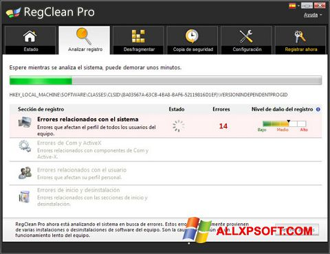Captură de ecran RegClean Pro pentru Windows XP