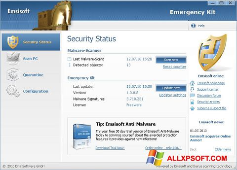 Captură de ecran Emsisoft Emergency Kit pentru Windows XP
