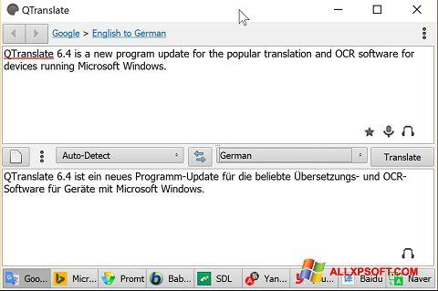 Captură de ecran QTranslate pentru Windows XP