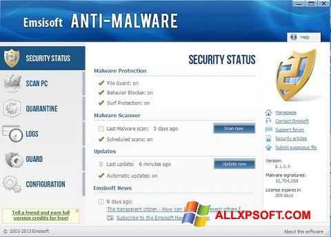 Captură de ecran Emsisoft Anti-Malware pentru Windows XP