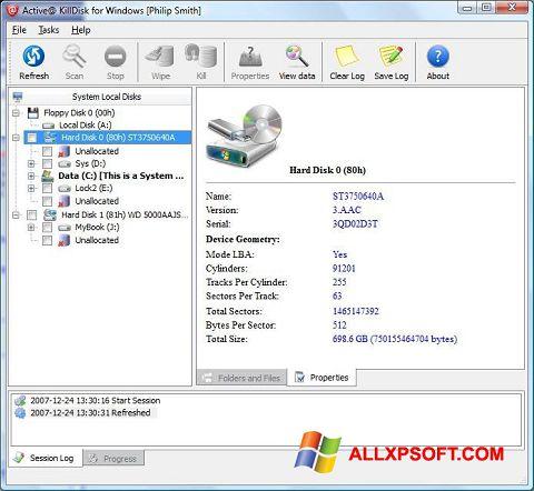 Captură de ecran Active KillDisk pentru Windows XP