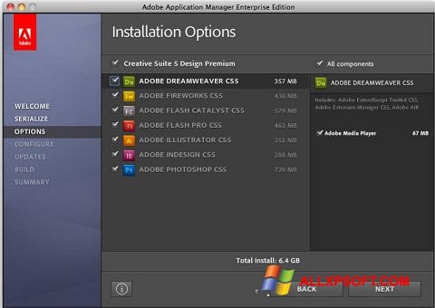 Captură de ecran Adobe Application Manager pentru Windows XP