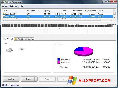 Captură de ecran Defraggler pentru Windows XP