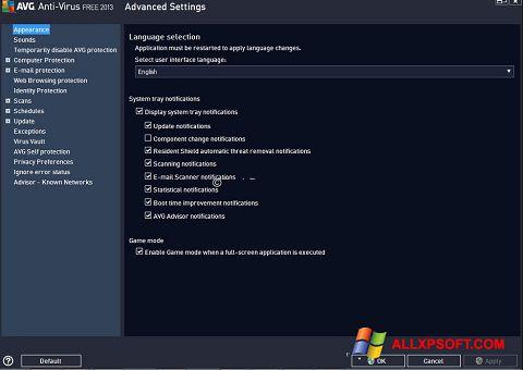 Captură de ecran AVG pentru Windows XP