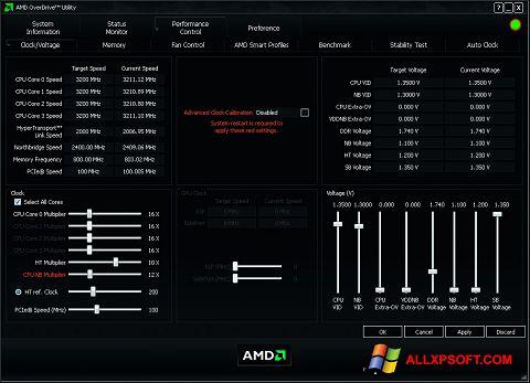 Captură de ecran AMD Overdrive pentru Windows XP