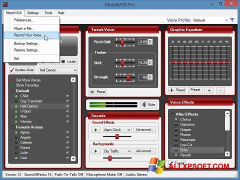 Captură de ecran MorphVOX Pro pentru Windows XP