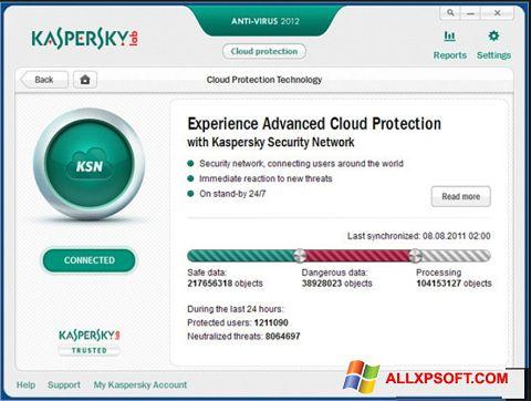 Captură de ecran Kaspersky pentru Windows XP