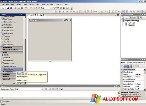 Captură de ecran Microsoft Visual Studio pentru Windows XP
