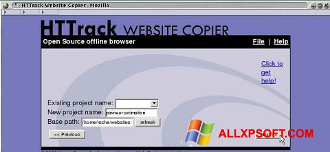 Captură de ecran HTTrack Website Copier pentru Windows XP