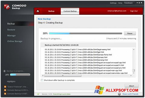 Captură de ecran Comodo BackUp pentru Windows XP
