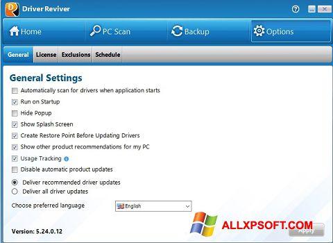Captură de ecran Driver Reviver pentru Windows XP