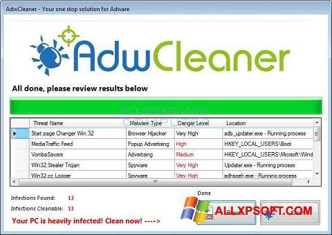 Captură de ecran AdwCleaner pentru Windows XP