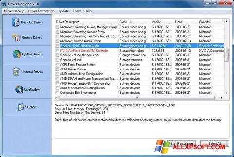 Captură de ecran Driver Magician pentru Windows XP