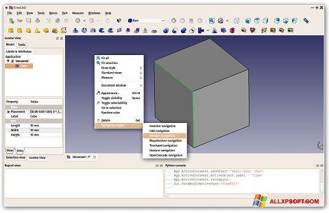 Captură de ecran FreeCAD pentru Windows XP