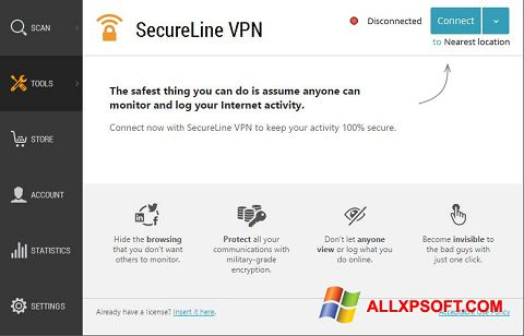 Captură de ecran Avast SecureLine VPN pentru Windows XP