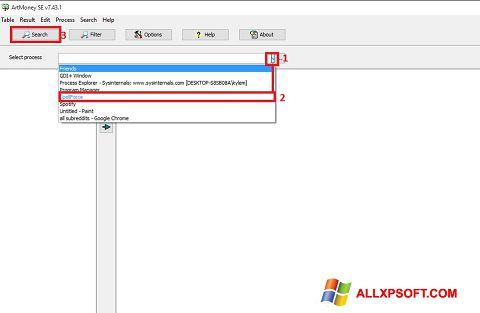 Captură de ecran ArtMoney Pro pentru Windows XP
