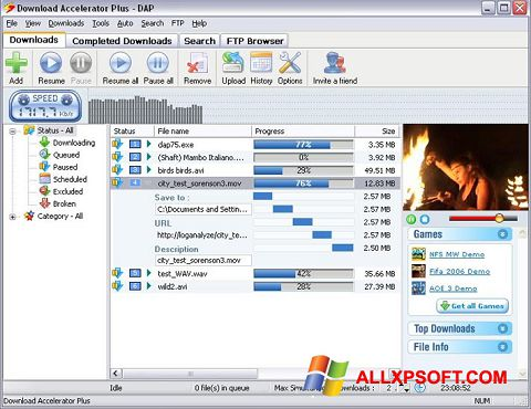 Captură de ecran Download Accelerator Plus pentru Windows XP