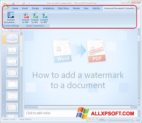 Captură de ecran Microsoft PowerPoint pentru Windows XP