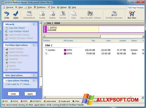 Captură de ecran EASEUS Partition Master pentru Windows XP