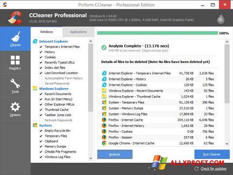 Captură de ecran CCleaner pentru Windows XP