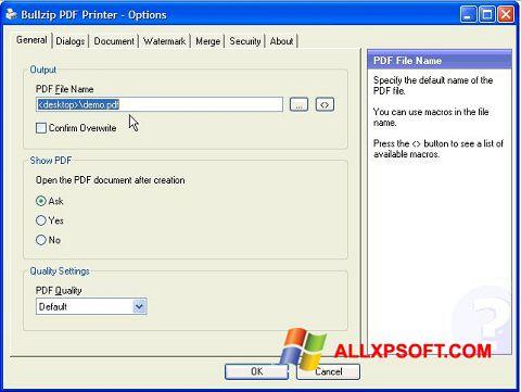 Captură de ecran BullZip PDF Printer pentru Windows XP