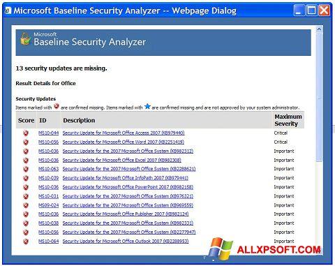 Captură de ecran Microsoft Baseline Security Analyzer pentru Windows XP
