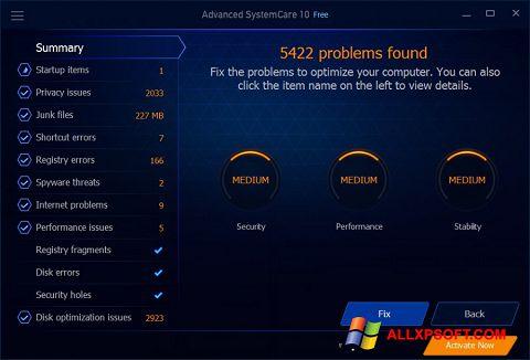 Captură de ecran Advanced SystemCare Free pentru Windows XP