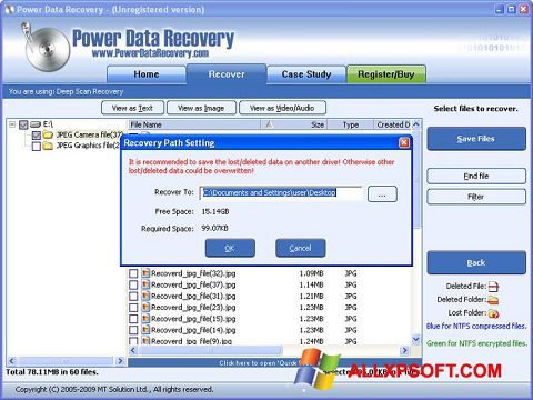 Captură de ecran Wondershare Data Recovery pentru Windows XP