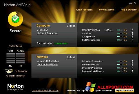 Captură de ecran Norton AntiVirus pentru Windows XP
