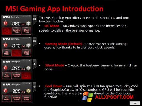 Captură de ecran MSI Gaming App pentru Windows XP